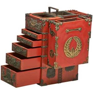 Japanese lacquer tansu miniature form with multidrawers and compartments early 20th c 14 14 x 12 12 x 10