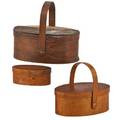 Shaker oval sewing baskets three two lidded baskets together with one bearing no handles early 20th c largest 3 12 x 8 x 6