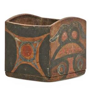 Native american painted box northwest coast with tribal decorations early 20th c 5 14 x 5 12