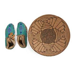 Pair of plains indian beaded moccasins together with a pomo basket with geometric designs first half of 20th c larger 14 12