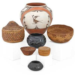 Native american pottery vessels seven zia polychrome jar two santa clara pueblo blackware bowls and four polychrome baskets 20th c zia signed helen gachupin largest 9 34
