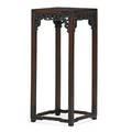 Chinese fretwork pedestal teakwood with stretcher base 19th c 34 x 14 14