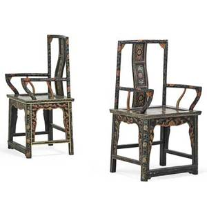 Pair of chinese open armchairs lacquer design on ebonized ground early 20th c 42 12 x 23 x 17 34