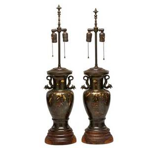 Meiji bronze lamps mixed metal and bronze with insect and foliage design late 19th c 18 12