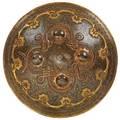 Persian bronze shield gilt decorated foliate scrolls and strap work late 19th c 14 dia