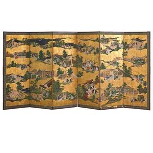 Japanese hand painted screen depicting narrative scenes from the tale of genji on silk 19th c 144 x 67 provenance presented as a gift from the japanese government to a president of the world b