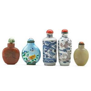 Chinese hardstone snuff bottles five two hardstone together with one porcelain and one enameled example 19th c tallest 3 14 provenance estate of a private collector new york