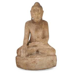 Thai sandstone figure a buddha in the lotus position 19th c 15 12 x 10 x 7