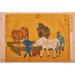 After zhoa ziang zhoa mengfuchinese 12541322 two handpainted silk scenes with horses flanked by calligraphy and chop marks 19th c framed larger 31 14 x 53 12 sight