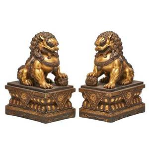 Pair of chinese gilt bronze lions guardian lions on rectangular plinths 20th c 8 x 12 12