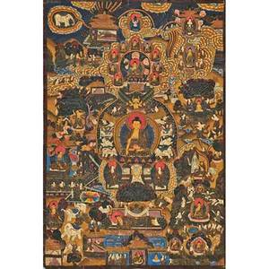 18th19th c tibetan thangka painting oil on canvas multifigured scene 19 12 x 21