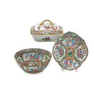 Chinese famille rose porcelain three one oval tray one large bowl and one covered entree 19th c bowl 4 x 10