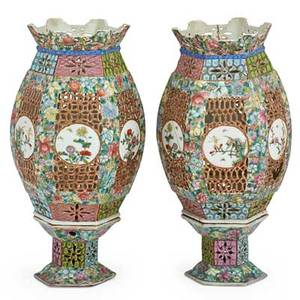 Pair of chinese porcelain wedding lamps famille rose design on stands 19th c 12 34