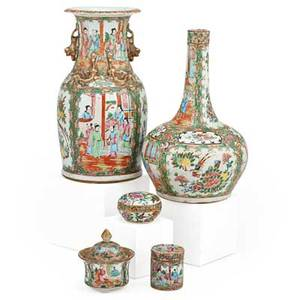 Chinese famille rose porcelain five planter gourd shaped vase mantle vase and two covered boxes early 20th c tallest 14