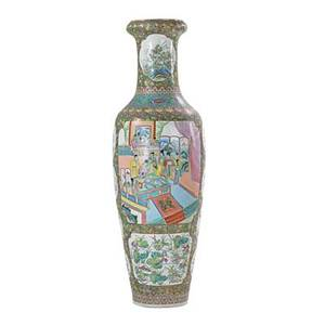 Chinese export palace vase gilt and enamel with narrative scenes and floral design 20th c 73 x 24