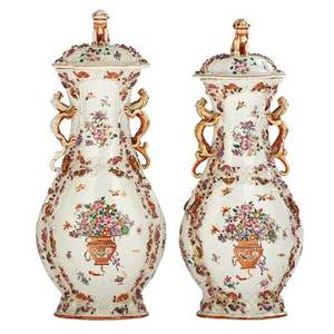 Pair of chinese porcelain urns famille rose design with flower baskets and dragon form handles late 19th c 14