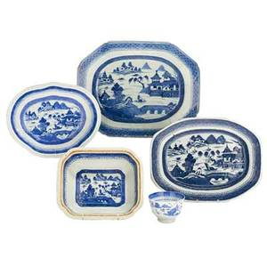 Chinese canton porcelain thirtyfour six dinner plates four luncheon plates eight salad plates nine bread plates three serving platters two cups one soup bowl and one open vegetable 19th c