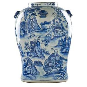 Chinese porcleain vase blue and white calligraphy decoration with figures of immortals and animal head handles 19th c signed 26 x 18