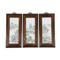 Chinese porcelain plaques three handpainted landscape scenes late 19thearly 20th c 32 x 14 34 framed