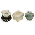 Chinese jade miniatures three one brush pot and two bowls early 20th c largest 2 14 x 2 including base