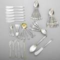Collection of floral spoons and other flatware 12 gorham lilly teaspoons 5  6 gorham dresden teaspoons 5  6 gorham orange blossom ice cream spoons with gilt bowl 5 38 6 whit