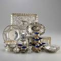 Small ornamental silver for the table or desk twentyfive pieces tiffany  co pen tray 19091947 garland and lattice bowl and dish retailed by tiffany  co two shreve crump  low garland and