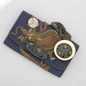 Meiji japanese silver mounted tobacco pursepouch forbidden stitch embroidered silk threetoed dragon on blue woven ground pierced and repousse silver chrysanthemum closure and detailing on ivory bu