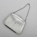 Art deco sterling pocketbook pinstriped with geometric interlaced monogram on black goatskin cream file interior william b kerr newark nj ca 1920 5 18 x 6 34 x 3 101 ot gw
