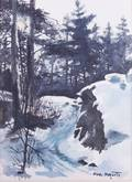 Paul Paquette Watercolor of Snowy Landscape