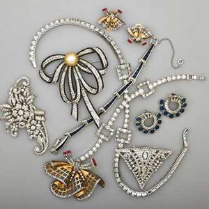 Elegant rhinestone and sterling costume jewelry eleven pieces all sterling some enameled and multi gem set three brooches fur clip two pairs of earrings necklace two bracelets 19381958 ma
