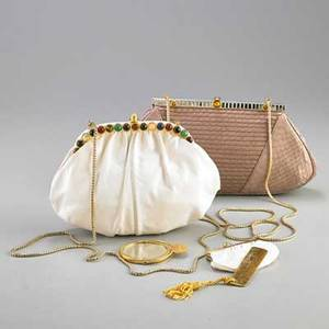 Two judith leiber snakeskin clutches white with 24 varied cabochon hardstones on frame and push release closure gold tone hardware and attached chain white satin interior original accessories incl