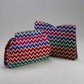 Two vintage missoni clutches billfold and clutch in purple red pink green and metallic gold chevron pattern with snap closures clutch 7 x 10 x 2 12 billfold 7 14 x 10 14 x 1 14