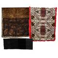 Three recent designer velvet scarves crushed and burnout velvet designs etro with red dyed rabbit fur trim 25 x 68 two gucci 11 12 x 54 and 32 x 65