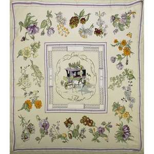 Hermes quai aux fleurs silk scarf lavender and cream by hugo grygkar 34 x 34