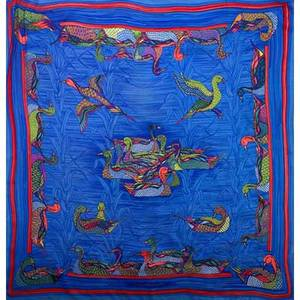 Hermes la mare aux canards silk scarf in blue and red by daphne duchesne 34 x 34