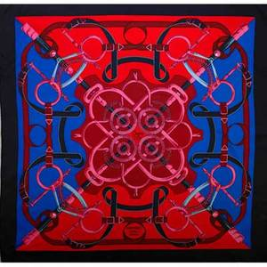 Hermes silk eperon dor scarf pink and red by h origny 34 x 34