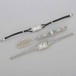 Ladies art deco platinum or white gold jewelry four pieces two diamond dinner watches with white dials and arabic numerals one rectangular longines 18k wg case with diamond rows and 14k wg filigree