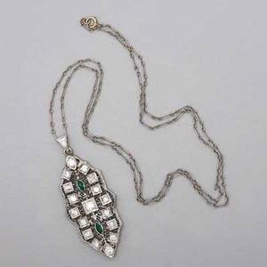 Art deco diamond white gold filigree necklace 10k lozenge form pendant seventeen omc diamonds and two emerald marquises diamonds approx 105 cts tw pendant 1 14 x 34 chain marked 14k on