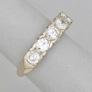 Diamond five stone 14k white gold ring five circular brilliant cut diamonds approx 125 cts above open gallery ca 1950 marked 14k size 6 27 dwt
