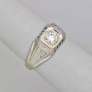 Art deco diamond 18k white gold ring old jubilee cut diamond approx 50 ct in square setting with pierced and incised decoration ca 1930 size 8 12 34 dwt