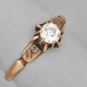 Victorian diamond and 14k yellow gold ring oec diamond approx 50 ct in buttercup setting engraved shoulders ca 1905 size 7 12 13 dwt