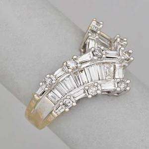 Diamond 14k white gold ring chevron shaped ribbon of bright baguette cut diamond channels and prong set circular brilliant cut diamonds approx 225 cts tw ca 2000 marked a  14k size 6 3