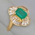 Emerald and diamond 14k yellow gold ring rectangular step cut emerald 140 cts by formula baguette and circular cut diamonds approx 1 cts tw ca 1990 size 7 38 dwt