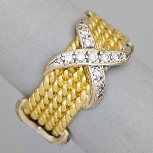 14k yellow gold and diamond ring five yg cables with wg and diamond straps 56 ct tw size 8  width 716 68 dwt