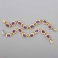 Two amethyst 14k gold link braceletsnecklace two bracelets in the florentine style oval amethysts 32 cts tw and twist wire link bracelets 7 14 join to form 14 12 collar ca 1965 265 dwt