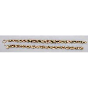 Two 14k gold rope bracelets bicolor rose and green gold 7  yellow gold 7 126 dwt