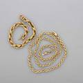 14k yellow gold rope neck chain and bracelet v spring clasp with safety at closure on both necklace 22 bracelet 8 175 dwt tw