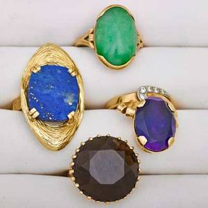 Four gold gem set rings mid 20th century 14k yg ring with amethyst and wg topped diamonds size 5 12 14k yg ovular design ring with flat lapis stone size 7 14k yg ring with large smokey quar