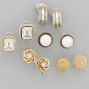 Five pairs of gold or silver earrings four pairs for pierced ears david yurman cable hoops with gold accent 14k gold button earrings slane and slane silver and 18k gold rectangular earrings with r