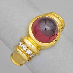 Garnet and diamond 18k yellow gold ring round garnet cabochon tower and eight brilliant cut diamonds approx 38 ct tw in bright and matte 18k yg ca 1990 size 8 12 58 dwt